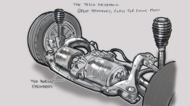 Livesketching the 2012 Detroit Auto Show: Tesla Engine Non-Porn