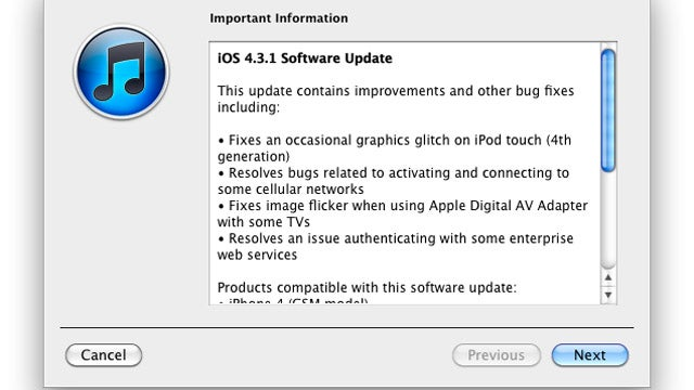 iOS 4.3.1 Update Is Live, But Just Fixes Bugs