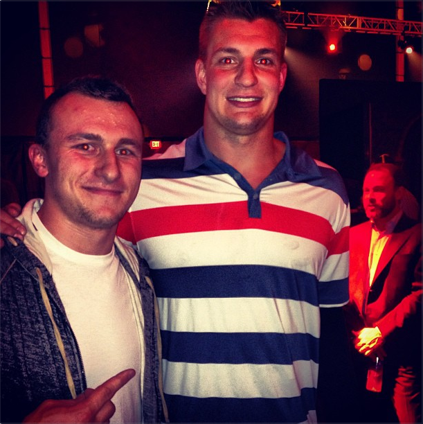 Here's A Photo Of Johnny Manziel And Rob Gronkowski Wearing Shirts And Not Drinking