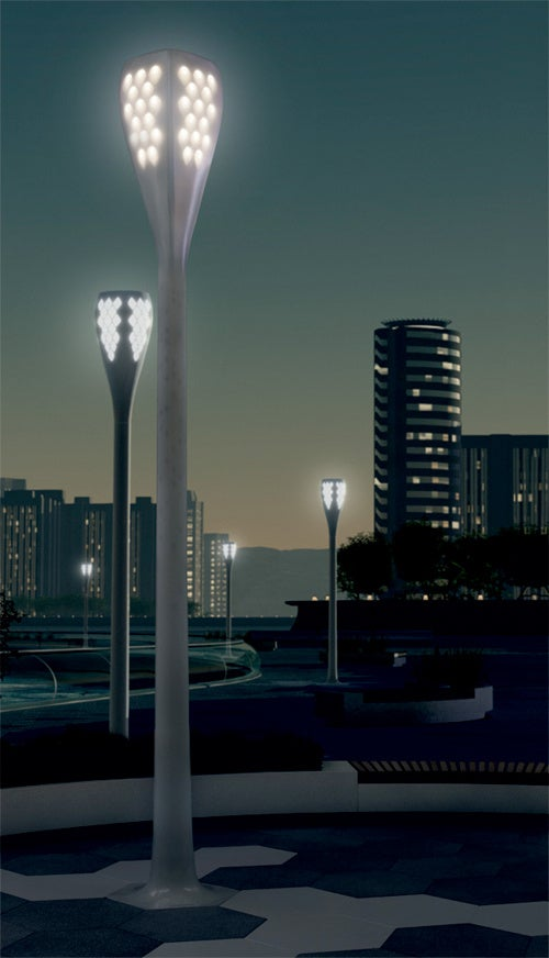 City Lights Concept Shows Streetlamps That Soak Up the Sunshine For Evening Glowing