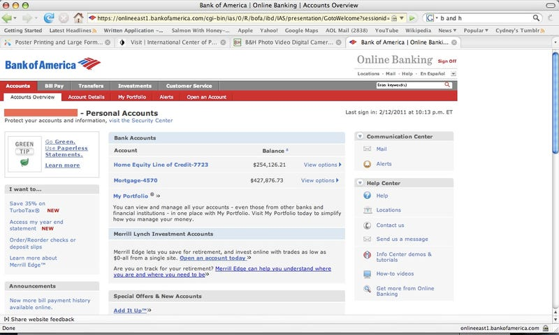 Bank of America website exposes customer accounts, data