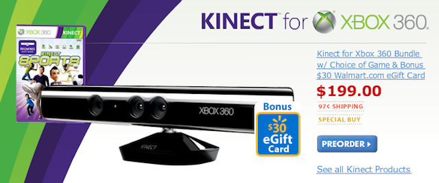 Wal-Mart Offering $199 Kinect Bundle, Selling Kinect Games for $60
