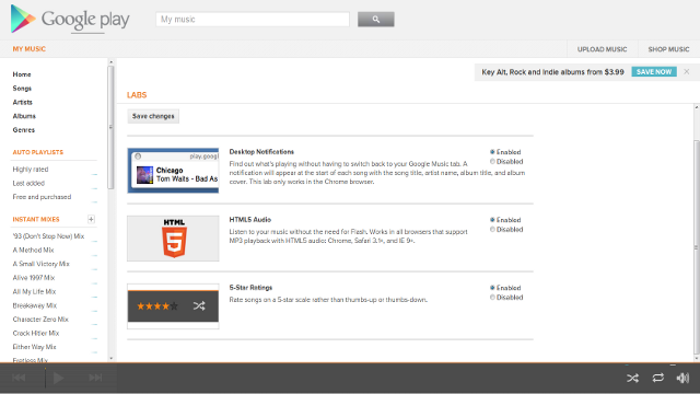 Enable Desktop Notifications, HTML5 Audio, and Five Star Rating in Google Music Labs