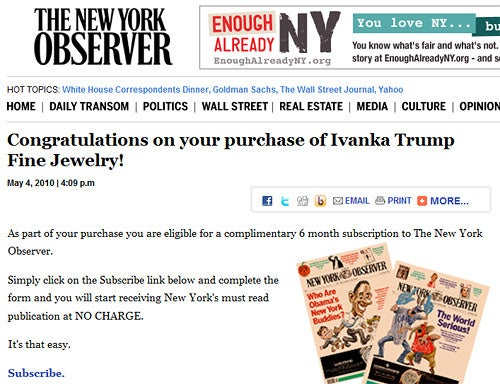 Ivanka Trump Is Giving Her Husband's Newspaper Away to People Who Buy Her Jewelry