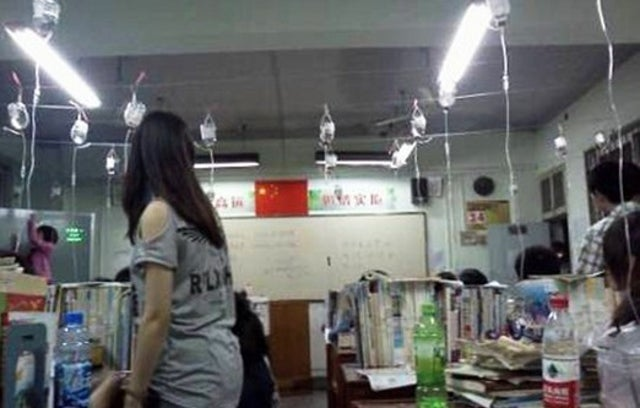 Photos Allegedly Show High School Seniors Mainlining Amino Acids while Cramming for Chinese College Entrance Exams