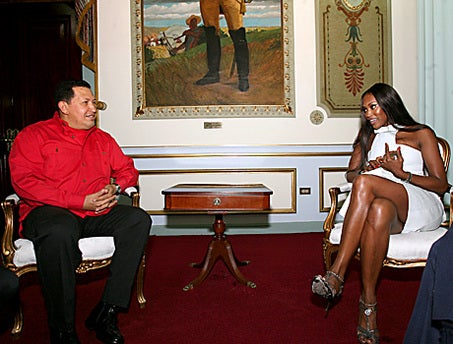 Hugo Chavez Receives Diplomatic Mission From Naomi Campbell And Her Rogue Mobile Phone