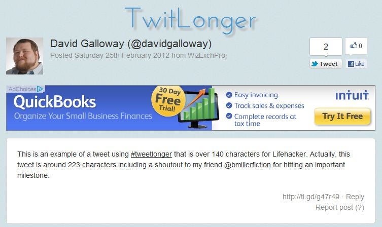 TwitLonger Sort of Allows You to Post Tweets Longer than 140 Characters
