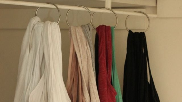 Hang Tank Tops in Your Closet with Shower Curtain Rings