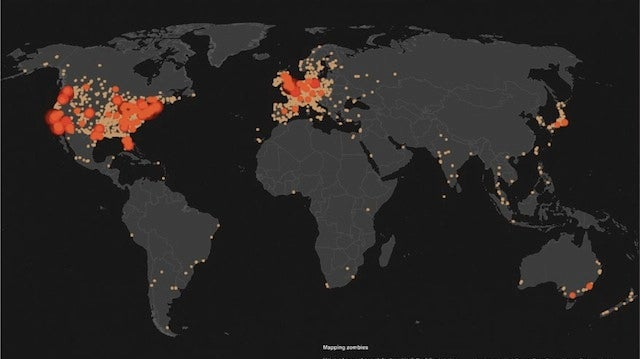 "Here's a Map That Shows Where the People Who Google ""Zombies"" Are From"