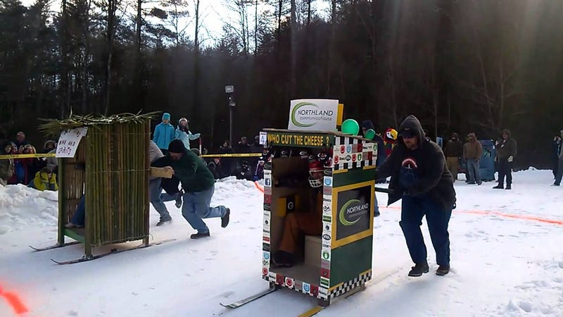 Strap some skis on your toilet and head to the Outhouse Races