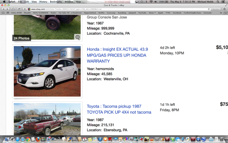 So apparently the Honda Insight was offered in the year hemorrhoids