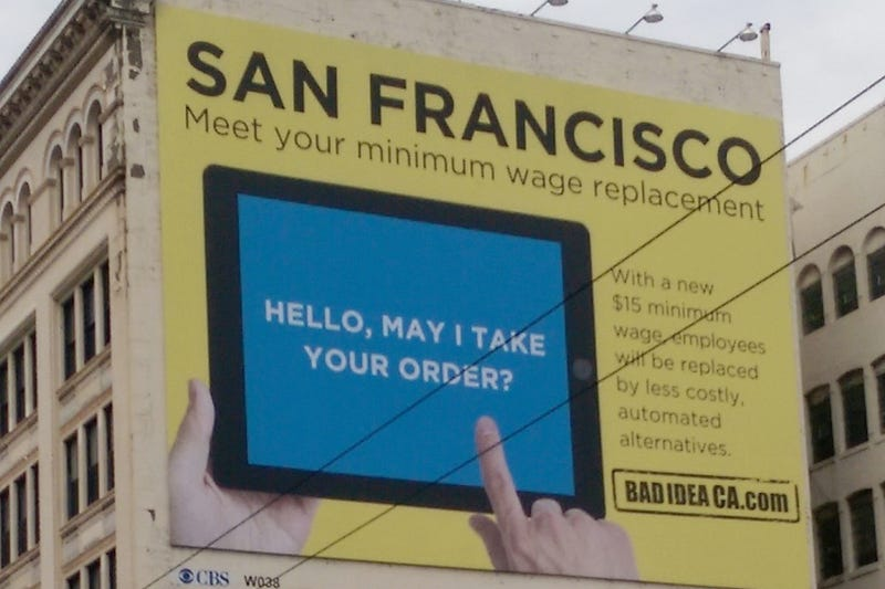 SF Billboard Says Higher Minimum Wage Means iPads Will Replace Workers