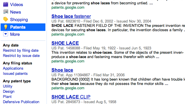 Patents Now Included in the Google Search Sidebar