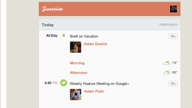 Sunrise Starts Your Day with an Email Digest of Your Appointments, Events, and Birthdays