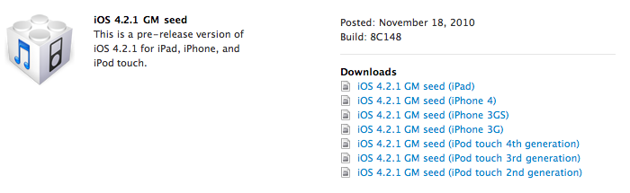 iOS 4.2.1 Gold Master Now Available To Apple Developers