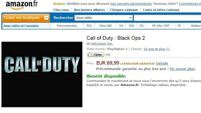 Black Ops 2 Reportedly Outed by Amazon as This Year's Call of Duty