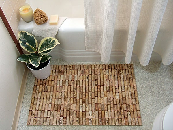 Make a Bath Mat Out of Wine Corks