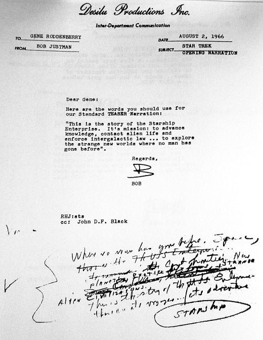 Read the first drafts of the Star Trek opening monologue