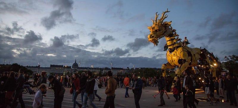 Enormous Walking, Fire-Breathing Mecha-Dragon Roaming In France