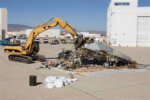 F-117 Stealth Fighter + Caterpillar Crusher = Pile of Sadness