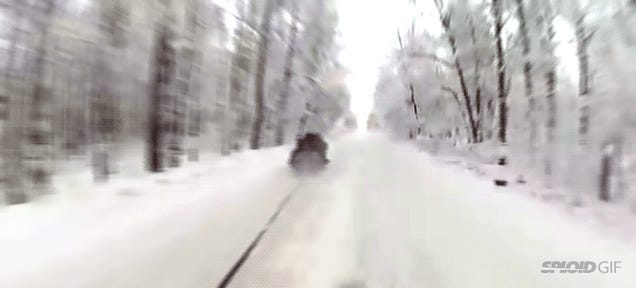 You won't believe how fast these Russian kids get towed on their sleds
