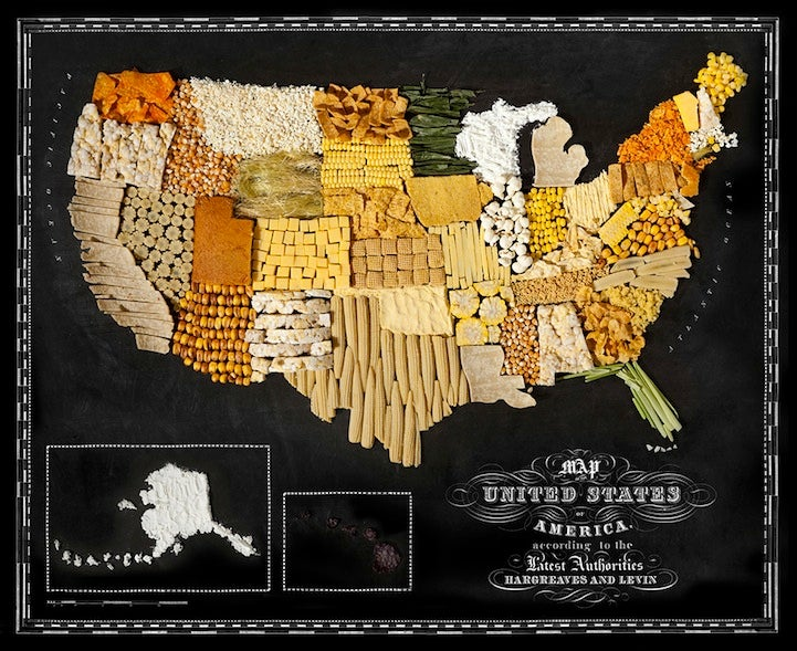 A collection of gorgeous world maps made out of local foods