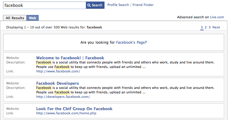 Facebook adds subpar search from Microsoft