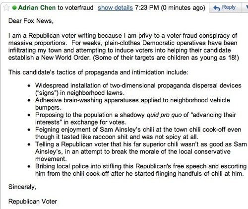 Let's All Email Fox News' Voter Fraud Tipline!