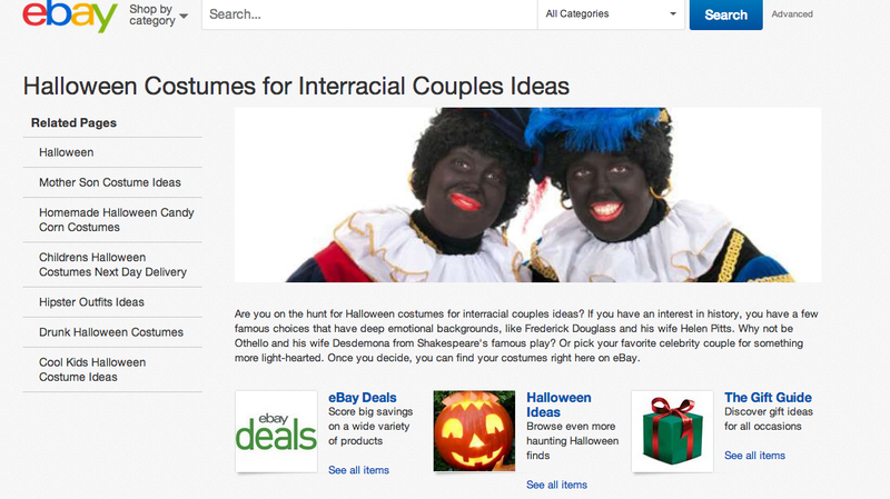 eBay's Halloween Costume Suggestion for Interracial Couples? Blackface