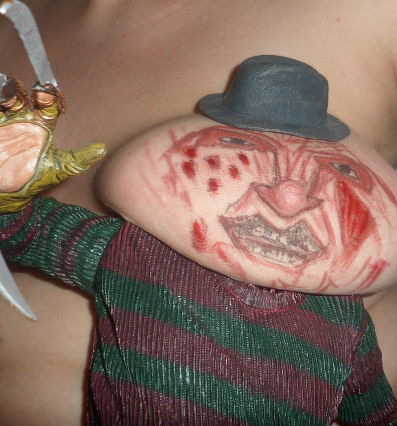 And now, for reasons inexplicable, breasts cosplaying as Freddy Krueger and Pinhead (NSFW)