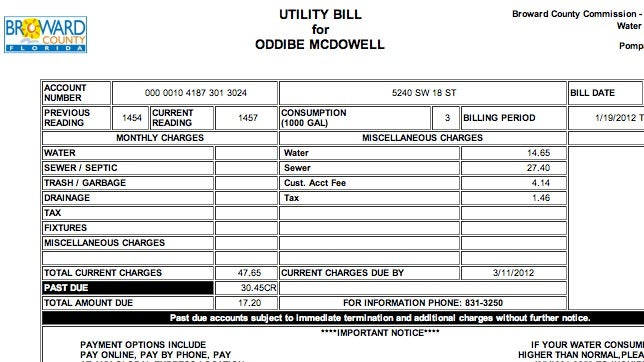Oddibe McDowell's Water Bill Is Only $17.20, Because He Overpaid By $30.45 Last Month