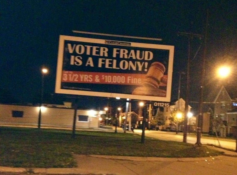 Clear Channel's Intimidating Voter Fraud Billboards: Coming to a Black Neighborhood Near You