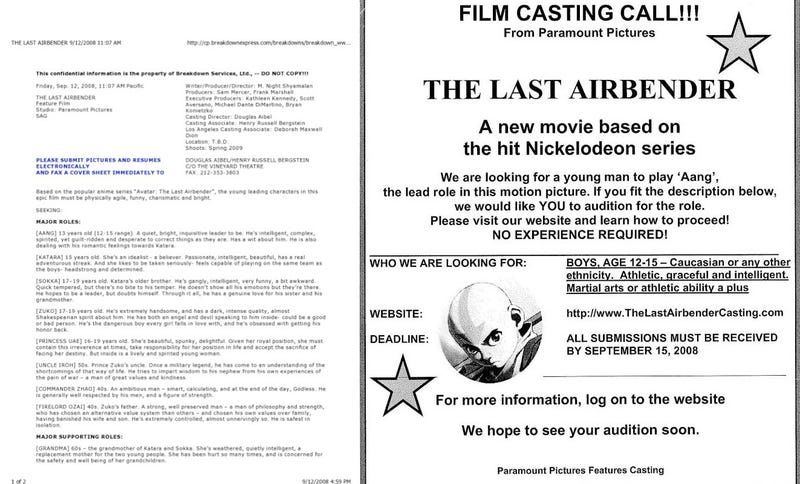 "Who Sent Out The Last Airbender Casting Call Asking For ""Caucasian"" Actors? Producer Responds"