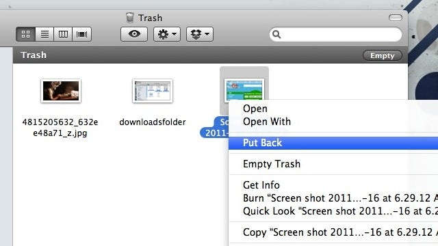 Undelete Items from OS X's Trash with a Keyboard Shortcut