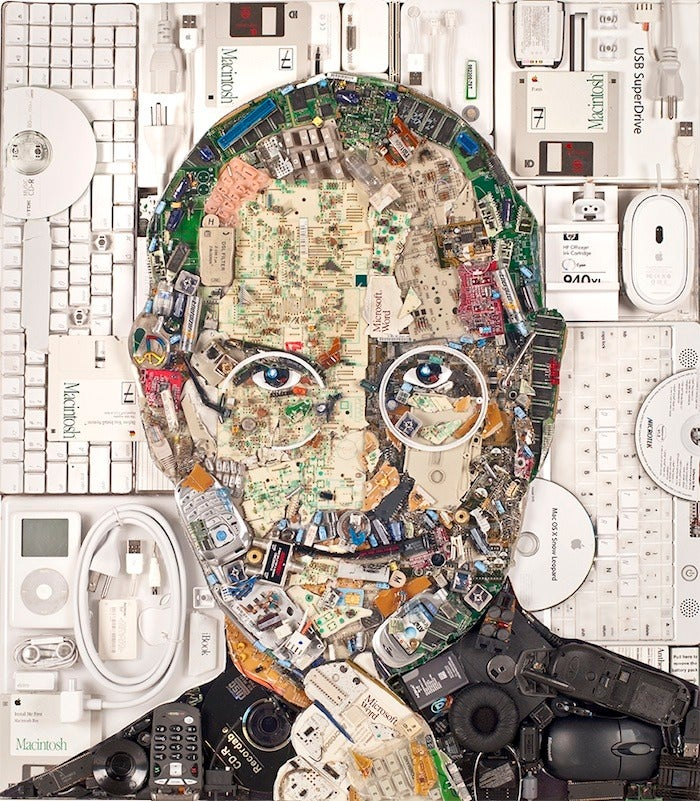 A portrait of Steve Jobs made entirely out of e-waste