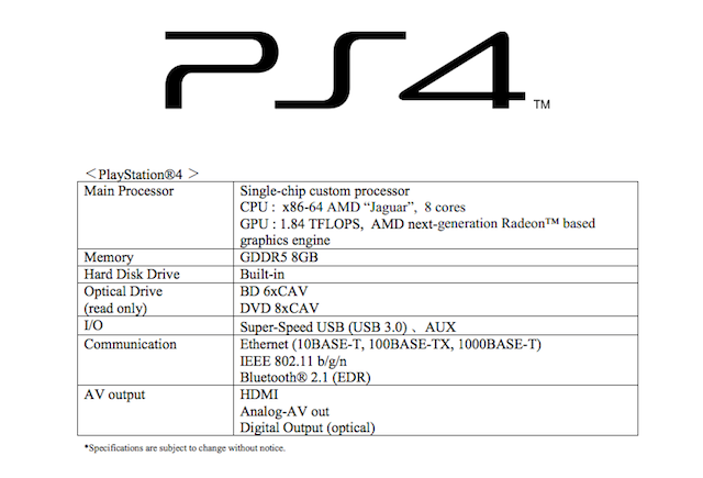 PlayStation 4 Tech Specs Released