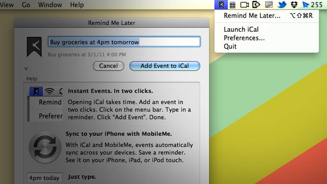 Remind Me Later Turns a Sentence into an iCal Event in Two Clicks