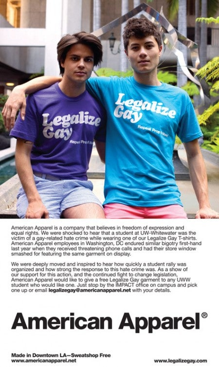 Anti-Gay Violence Great for American Apparel T-Shirt Sales (Updated)