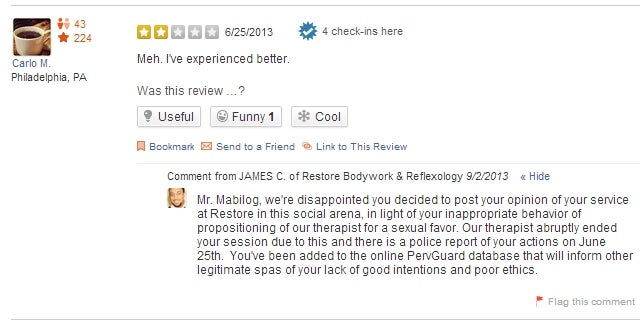 Yelp User Posts Negative Review of Health Spa, Owner Calls Him a Perv