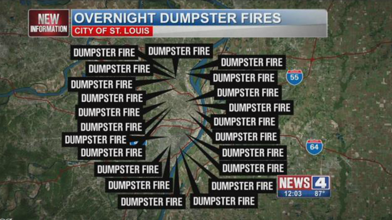 Guess How Many Dumpster Fires St. Louis Had Last Night