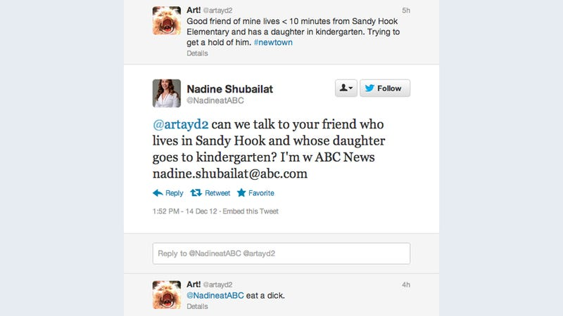 ABC Reporter Reaches Out to Possible Sandy Hook Victim; Is Told to 'Eat a Dick'