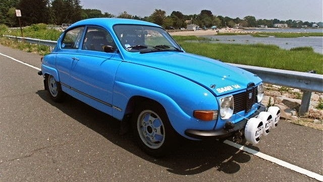 Fling Some Dirt In This Beautiful Blue SAAB 96 Rally Car