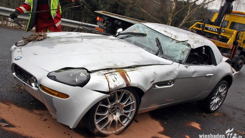 This Is What A BMW Z8 Looks Like Badly Damaged And Upside Down
