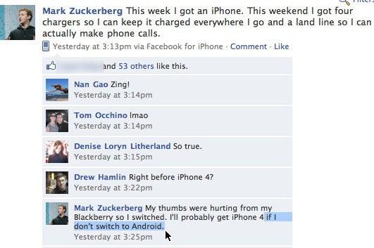 Facebook CEO Disses iPhone