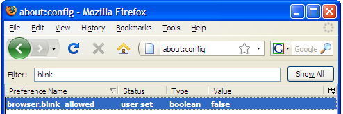 Disable Blinking Text in Firefox