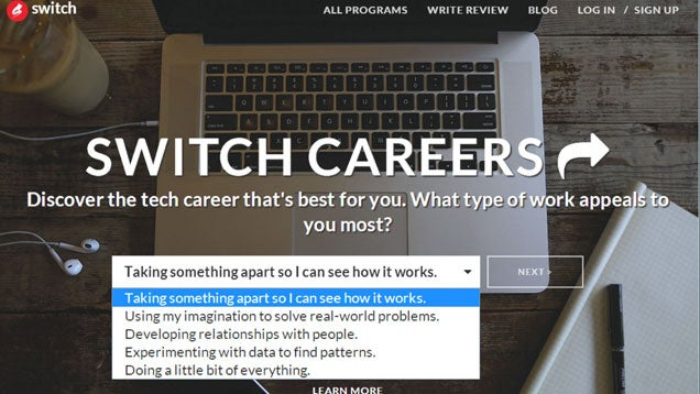 Switch Recommends a Coding Career for You and Matches You to Courses