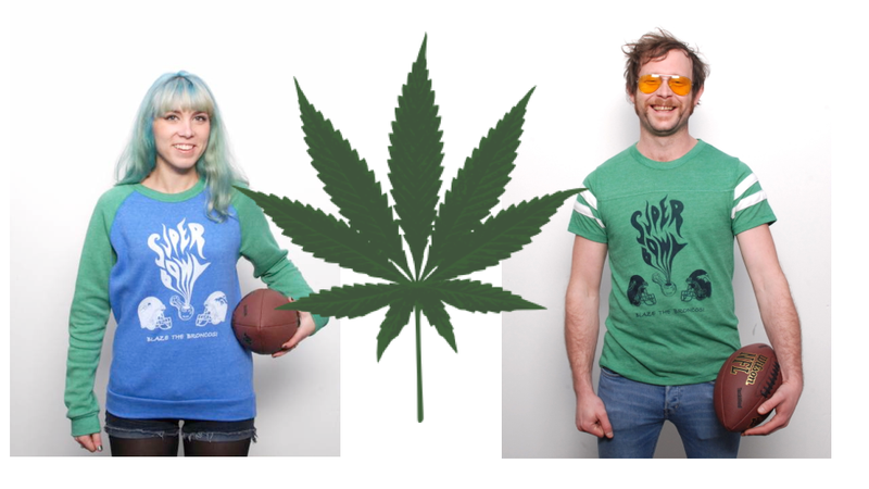"Support your Superbowl team with these ""Weed Bowl"" t-shirts"