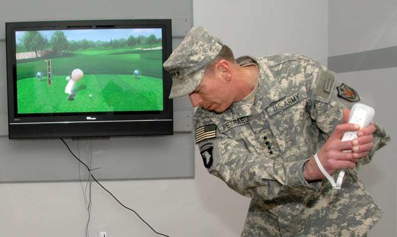 Gen. Petraeus Rocks The Wii Golf