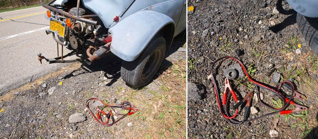 Cartoon Jumper Cables With Spark : How to fix a broken spark plug with teeth tape and