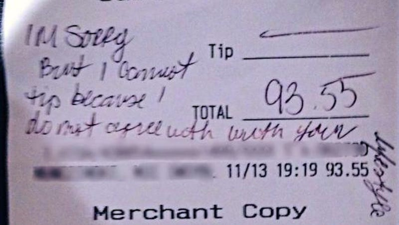 New Jersey ​Restaurant Customer Refuses to Tip Gay Waitress